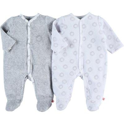 Lot de 2 pyjamas dors bien velours plume blanc / gris Noukies