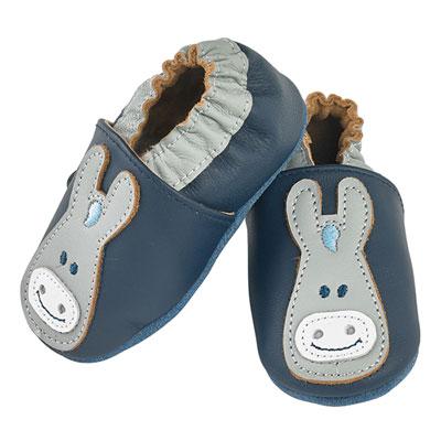 Chaussons bébé en cuir paco marine Noukies