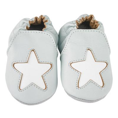 Chaussons bébé en cuir étoile cocon ciel Noukies