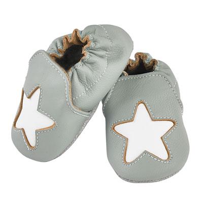 Chaussons bébé en cuir étoile cocon gris Noukies