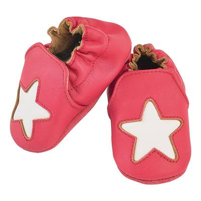 Chaussons bébé en cuir étoile cocon macaron Noukies