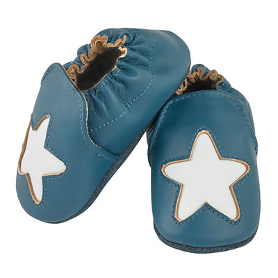 Chaussons bébé en cuir étoile cocon océan Noukies