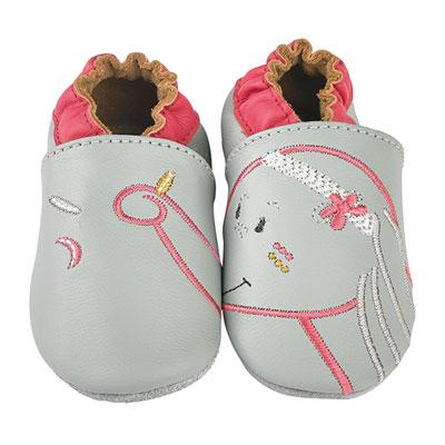 Chaussons bébé en cuir anna gris Noukies