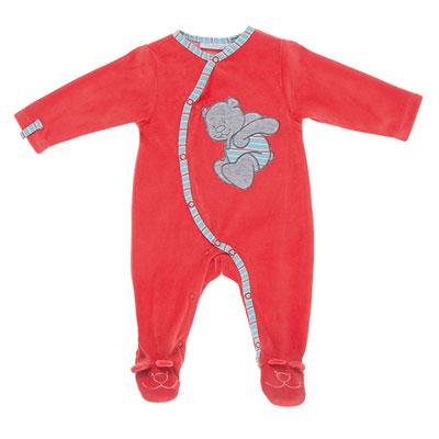 Pyjama bébé velours peps boy rouge Noukies