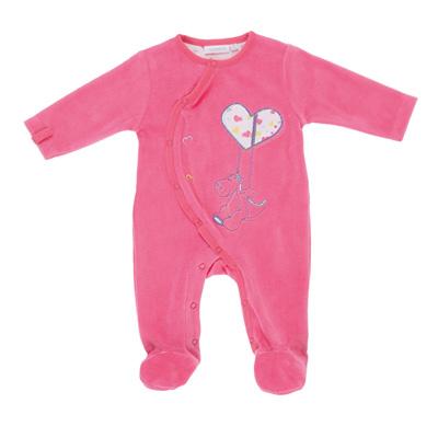 Pyjama bébé velours peps girl rose néon Noukies