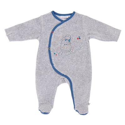 Pyjama dors bien bébé guss et victor gris Noukies