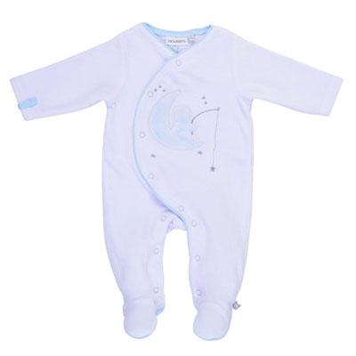 Pyjama dors bien velours blanc / bleu cocon Noukies