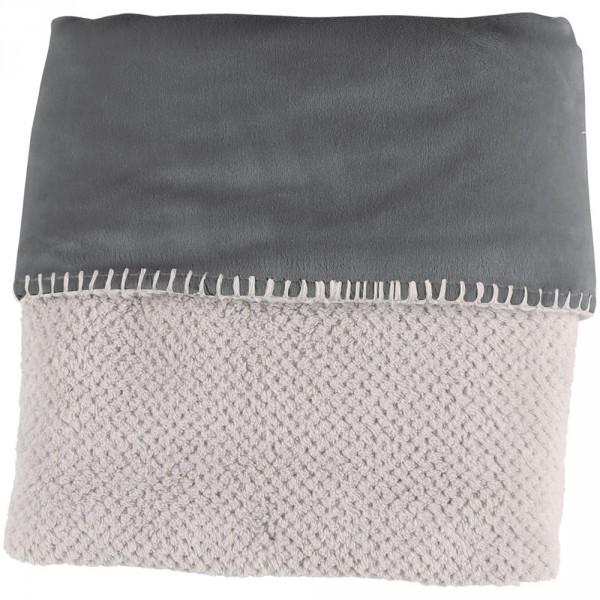 Couverture groloudoux 75 x 100 cm gris perle / gris foncé Noukies