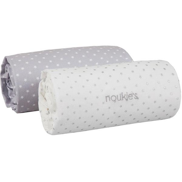 Lot de 2 draps housse 60 x 120 cm poudre d'étoiles Noukies