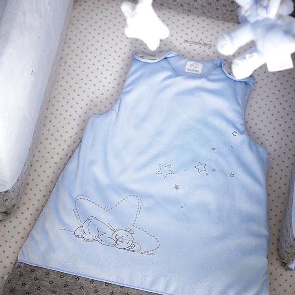 Gigoteuse 70 cm poudre d'étoiles bleu Noukies