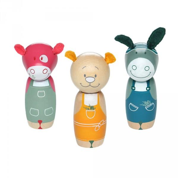 Jouet d'éveil bébé set 3 personnages jardinier en bois Noukies
