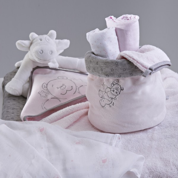 Sortie de bain bébé poudre d'étoiles rose Noukies