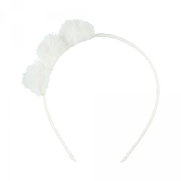 Accessoire pour cheveux serre tête pompon blanc Noukies
