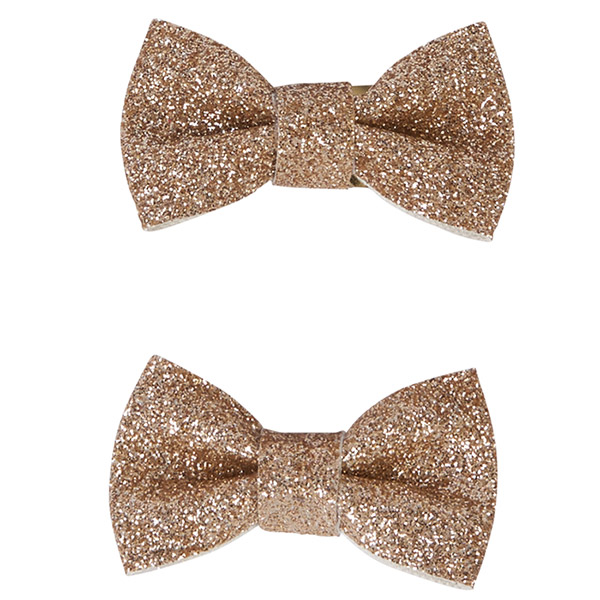 Accessoire pour cheveux 2 noeuds glitter or Noukies