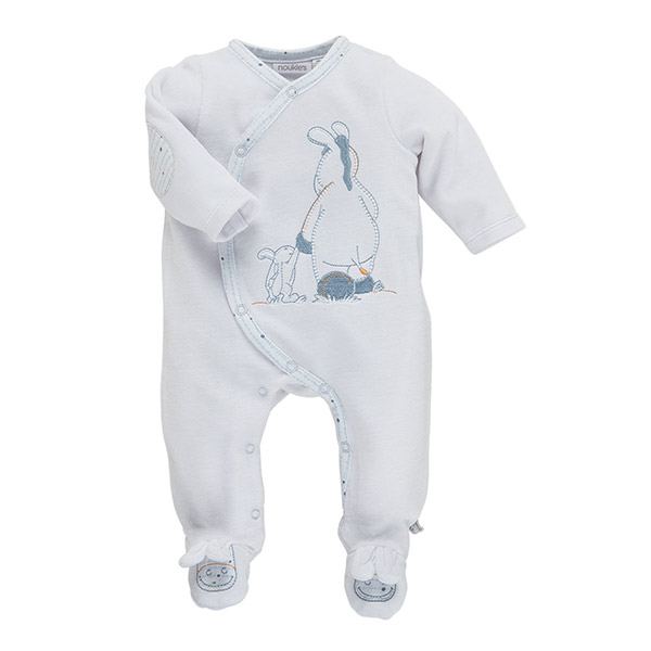 Pyjama dors bien cocon boy velours blanc Noukies