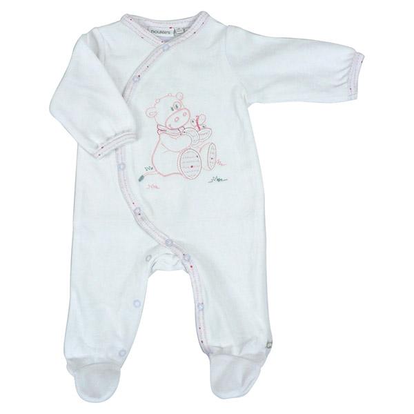 Pyjama dors bien velours blanc cocon girl Noukies