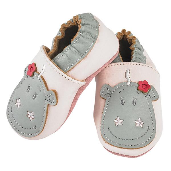 Chaussons bébé en cuir victoria rose clair Noukies