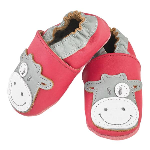 Chaussons bébé en cuir lola fuchsia Noukies