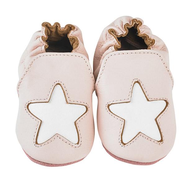 Chaussons bébé en cuir étoile cocon rose Noukies