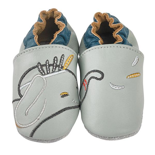Chaussons bébé en cuir bao gris Noukies