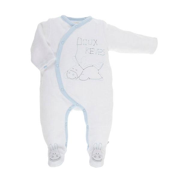 Pyjama dors bien velours blanc cocon boy Noukies