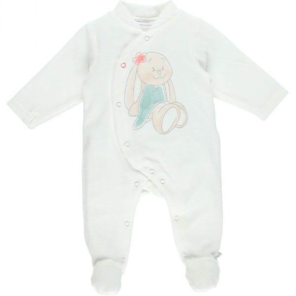 Pyjama dors bien velours graphic girl blanc Noukies