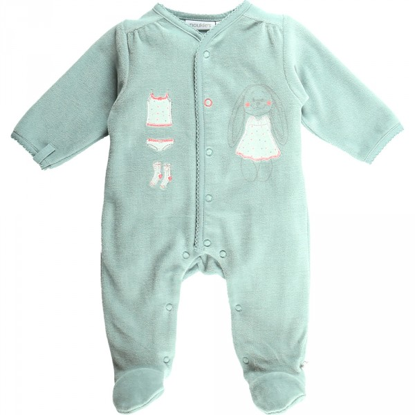 Pyjama dors bien velours graphic girl aqua Noukies