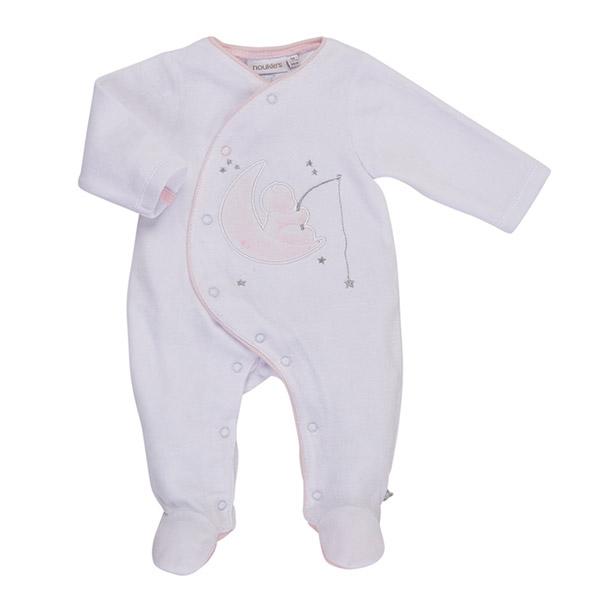 Pyjama dors bien velours blanc / rose cocon Noukies