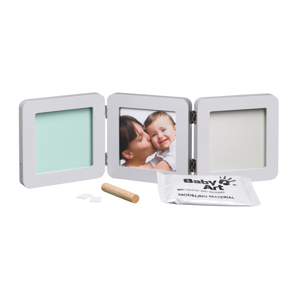 Cadre photo modern 3 volets avec 2 empreintes pastel de baby art for Cadre photo moderne