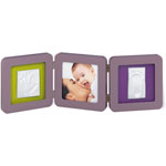 Cadre double print frame reversible taupe / violet- lime pas cher