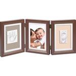 Cadre photo 3 volets avec 2 empreintes brown et taupe / beige pas cher