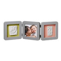 Cadre photo modern 3 volets avec 2 empreintes gris