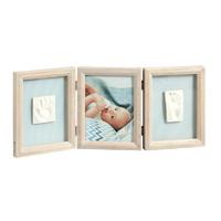 Cadre photo 3 volets avec 2 empreintes my baby touch bois cérusé