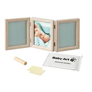 Baby art Cadre photo 3 volets avec 2 empreintes my baby touch bois cérusé