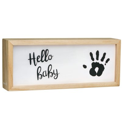 Lumière box avec empreinte bois Baby art