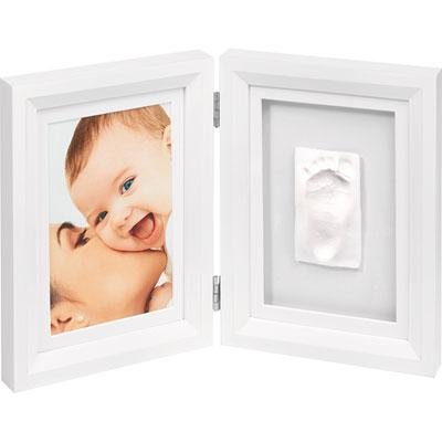Baby art Cadre photo avec empreinte blanc / blanc-noir