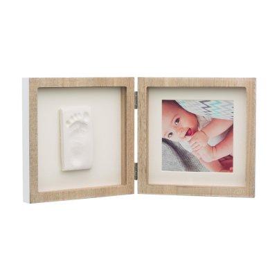 Cadre 2 volets avec empreinte et photo bois Baby art