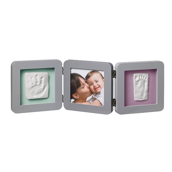 Cadre photo modern 3 volets avec 2 empreintes gris Baby art