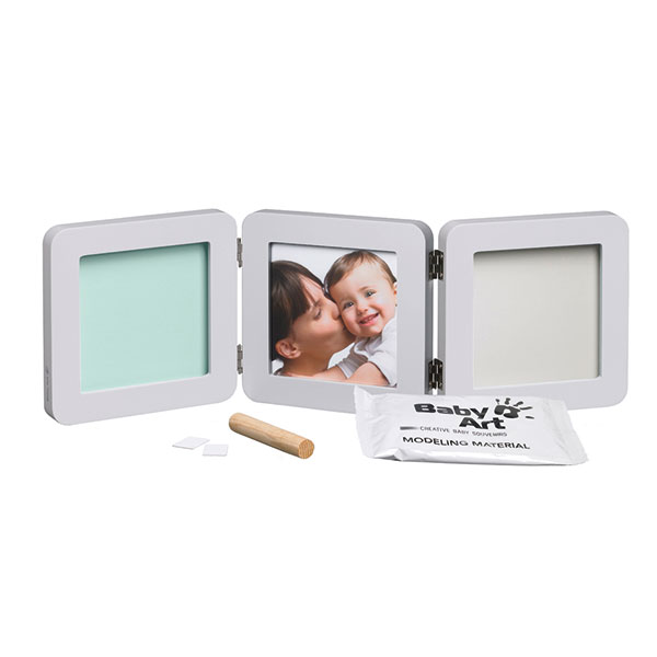 Cadre photo modern 3 volets avec 2 empreintes pastel Baby art