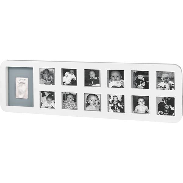 Cadre photo modern 1 st year avec empreinte blanc / gris Baby art