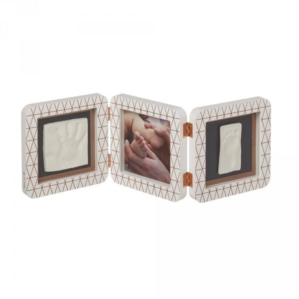 Cadre photo 3 volets avec empreintes blanc bronze cooper éditon Baby art