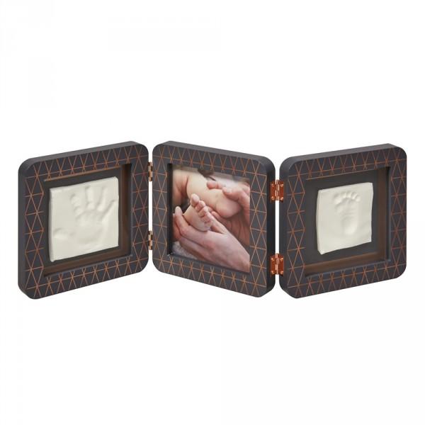 Cadre photo 3 volets avec empreintes gris foncé bronze cooper éditon Baby art