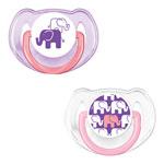 Lot de 2 sucettes silicone elephant rose 6 - 18 mois