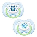 2 sucettes silicone aérées tendance bleue 0-6 mois pas cher