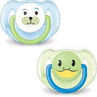 Lot de 2 sucettes silicone orthodontiques animal 6-18 mois garçon