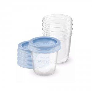 Avent-philips 5 pots de conservation 180 ml + couvercles