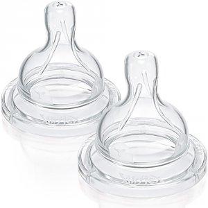 Avent-philips Lot de 2 tétines classic + en silicone 6 mois + liquides epaissis