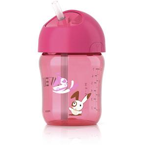 Tasse avec paille 260 ml rose