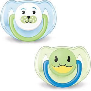 Lot de 2 sucettes bébé silicone orthodontiques animal garçon 6-18 mois