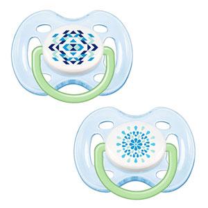 Lot de 2 sucettes silicone aérées tendance bleue 0-6 mois